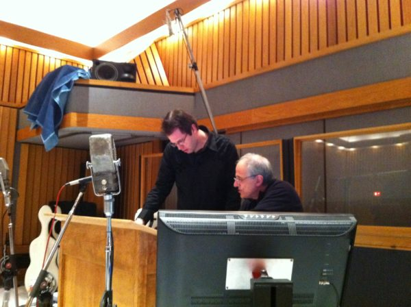 Arranger Jeremy Bunolino and Producer Bob Ezrin for the Alice Cooper session at Capitol
