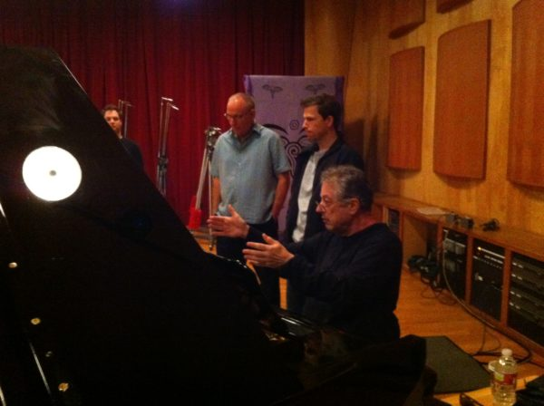 Bassist Dave Stone, Composer Joey Newman, and Pianist Mike Lang working on Any Day Now at Conway