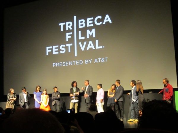 Cast and Crew of IN YOUR EYES at Tribeca 2014 with composer Tony Morales