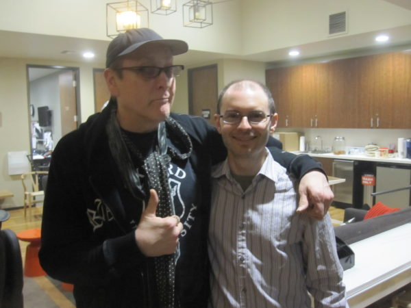 Cellist Victor Lawrence with Rick Nielsen of Cheap Trick for the Conan O'Brien Show at WB