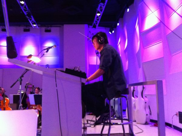 Composer Albert Chang on the podium for Rosario at East West Studios