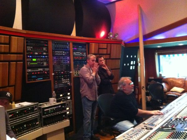 Director Travis Fine and Composer Joey Newman with engineer Tommy Vicari for Any Day Now at Conway