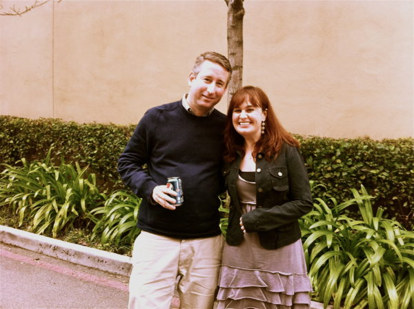 Mark with composer Debbie Lurie for the Haiti Project, recording at WB Studios