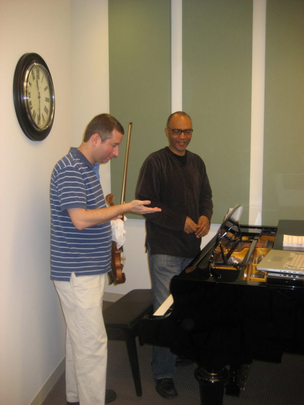 Mark with pianist Billy Childs at the Colburn School