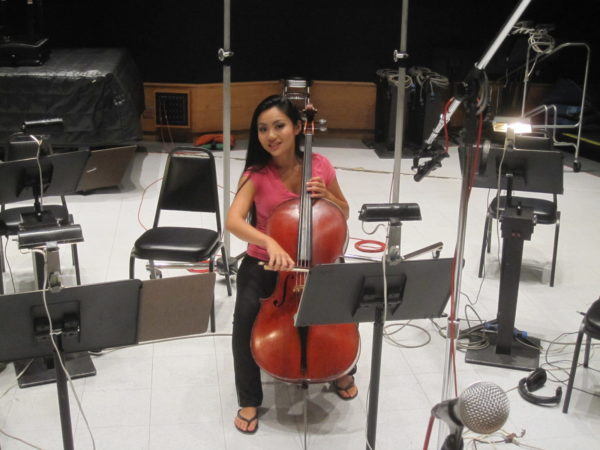 Tina Guo recording with Kelly Clarkson (Debbie Lurie, arranger) at Capitol Studios